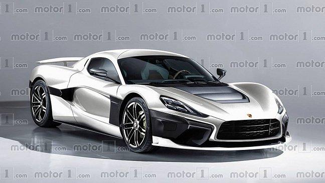 Электромобиль Porsche и Rimac представлен на новом рендере