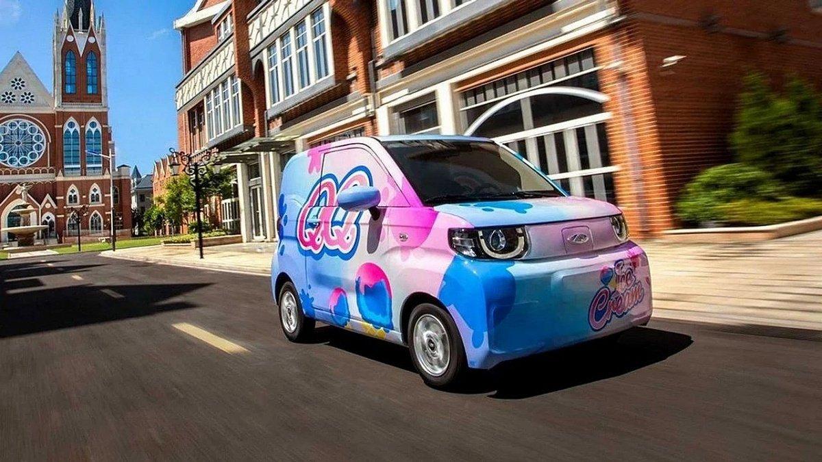 Бренд Chery показал первые фото нового электрокара QQ Ice Cream в яркой расцветке