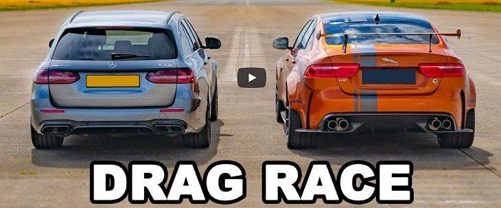 На дрэг вывели редкий Jaguar и AMG-универсал