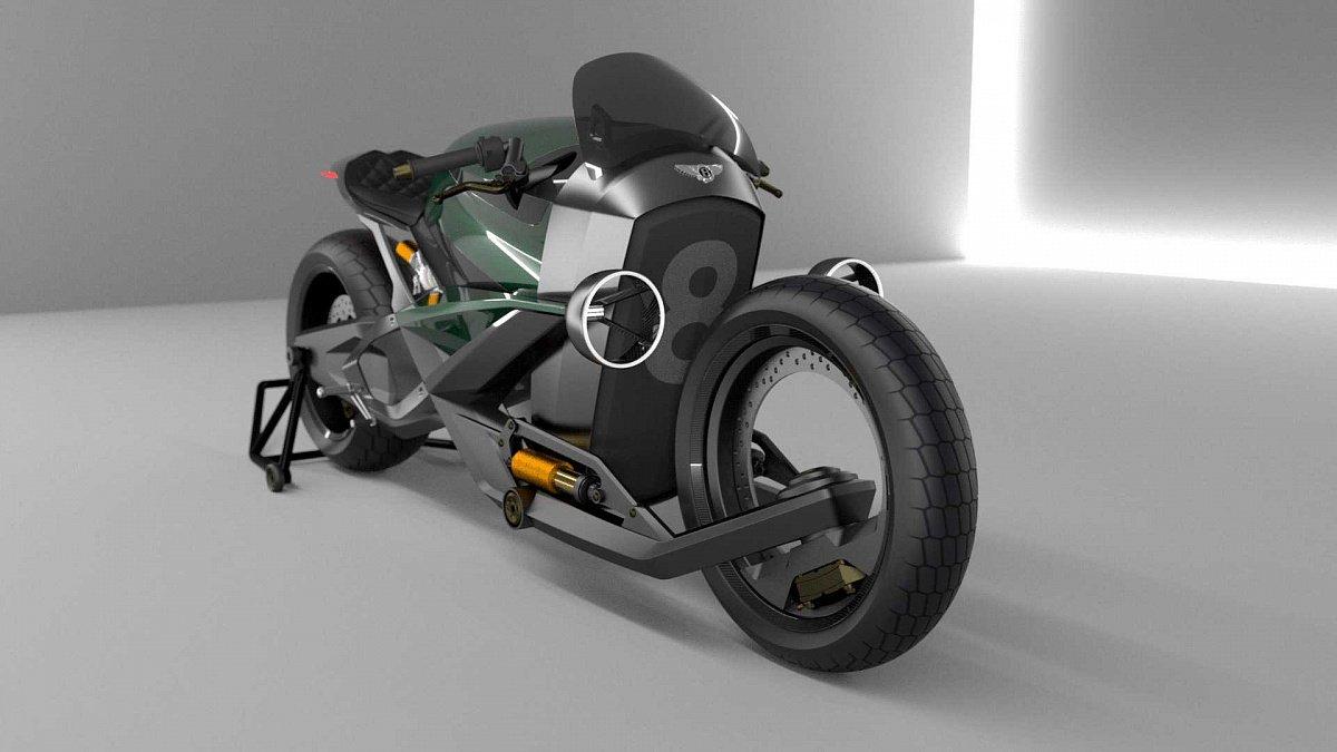 В сети появились рендеры электрического мотоцикла Bentley Hooligan